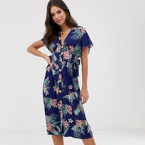 NEW ASOS Influence Button Through Dress in Tropic